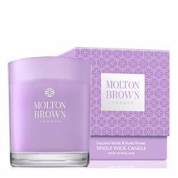 Molton Brown Vanilla & Violet flower single wick candle