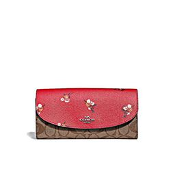 Coach Bright red multi Baby Bouquet Logo Slim Envelope Wallet