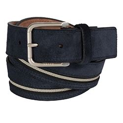 Bally - Blue leather belt with a stripe detail
