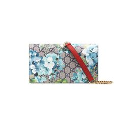 Gucci Women's beige blu navy/hibiscus red GG Blooms Chain Wallet