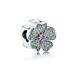 Pandora Apple blossom silver charm with blush pink crystal and clear cubic zirconia