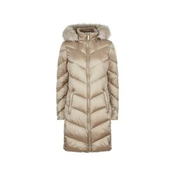 Michael Kors Chevron Down With Faux Fur Trim Hood