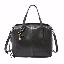 Fossil Emma leather satchel in black