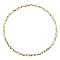 Signet 9ct two colour herringbone necklace