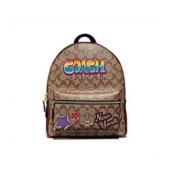 Coach khaki multi Sig graffiti medium Charlie backpack from Bicester Village