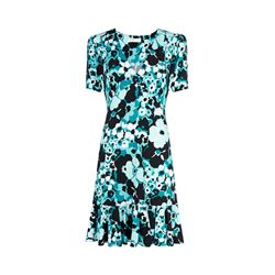 Michael Kors tile blue/black multi carnations dress