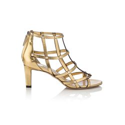 Jimmy Choo Tina 65 Roman Gold Metallic Nappa Sandals with Silver Studs