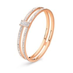 Folli Follie Match and dazzle double stone bracelet in rose gold