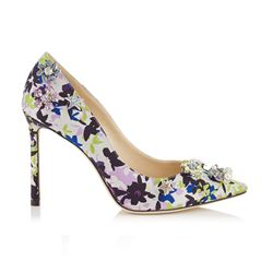 Jimmy Choo Camoflower Print Satin Jazz 100 Shoes
