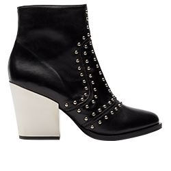 Pinko -Black boots with studs and silver heel