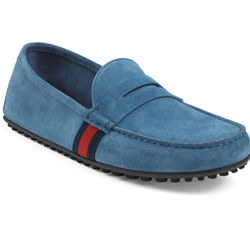 Gucci Driver in thunder suede with blue/red/blue web detail