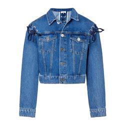Veste denim lacets
