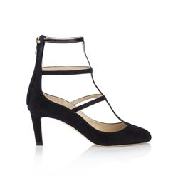 Jimmy Choo Dancy 65 Black Suede and Patent Caged Round Toe Pumps