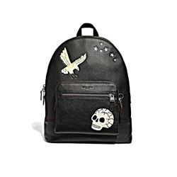 Coach Black Multi West Backpack in Textured Leather with Eagle Motif