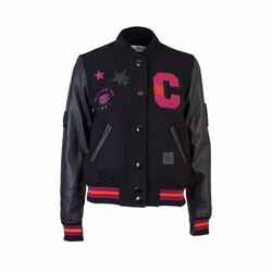 Coach Black letterman jacket with leather sleeves