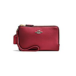 Coach Cherry Pebbled Leather Double Corner Zip