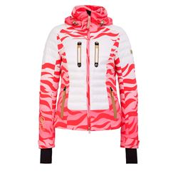 Women's ski jacket in red with zebra pattern
