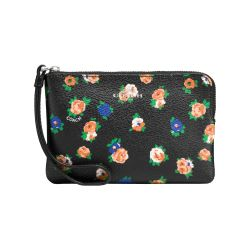 Cartera corner zip tea rose negro multi  Coach