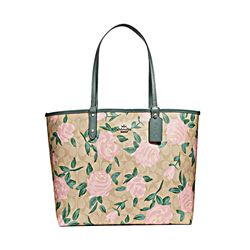 Coach Camo Rose Floral Printed Logo Reversible City Tote in Khaki Blush