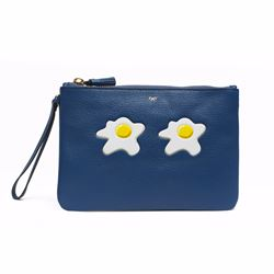 Anya Hindmarch Blue zip top pouch