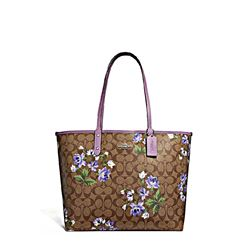 Coach Women's Signature lily print reversible city tote