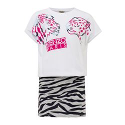 White and animal print dress Kenzo