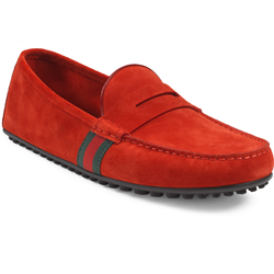 Gucci Driver in red suede with green/red/green web detail
