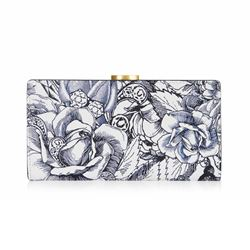 LuLu Guinness Ink roses print flat frame purse