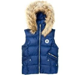 Juicy Couture Sleeveless hooded padded jacket in navy