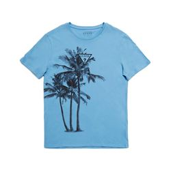 Guess Men's Blue Palm Tree Print T-Shirt