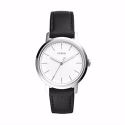Fossil Neely white dial black leather watch