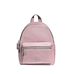 Blush Pebbled Leather Mini Charlie Backpack