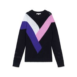 Maje Oversized sweater with multicolored detailing