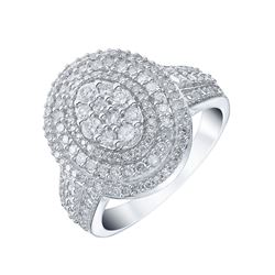 Signet Jewellers 18ct White Gold 1ct Diamond Oval Halo Ring