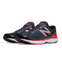 New Balance Men's 680 navy/red trainers