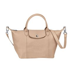 Longchamp Beige Le Pliage Cuir leather crossbody bag from Bicester Village