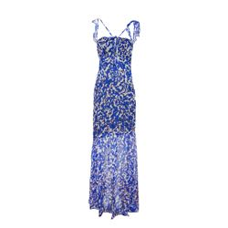 Blue & White Print Chiffon Dress