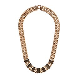 Aristocrazy - Gold neclace with dark stone detail