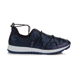 Jimmy Choo Andrea Steel Blue Metallic Fabric and Nappa Mesh Trainers