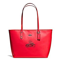 Damen-Handtasche 'Mickey Leather City Zip Tote' in Rot von Coach in Wertheim Village