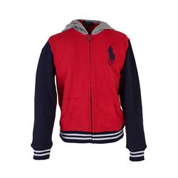 Red Tracktop with Navy Sleeves