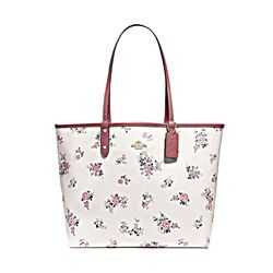 Coach Cross Stitch Floral Reversible City Tote in Chalk