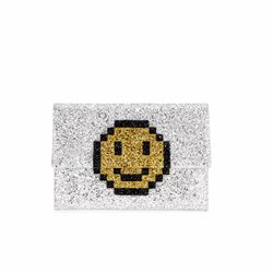 Anya Hindmarch Valorie pixel smiley in silver glitter