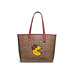 Coach Khaki Multi Washed Red Signature Miss Pacman Reversible City Tote from Bicester Village