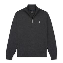 Musto Charcoal zip-neck knit