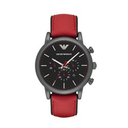 Armani men's watch in black-red by Watch Station International at Wertheim Village