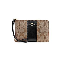 Coach women's khaki black Corner Zip
