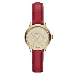 Burberry red leather watch