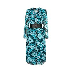 Michael Kors tile blue/black multi spring midi dress with belt