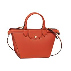 Longchamp Le Pliage Heritage medium terracotta leather handbag from Bicester Village